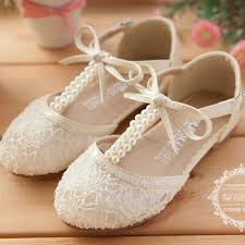 wedding shoes lace pearl bow hollow lace up flower girl