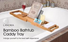 Bathtub Wine And Book Holder Amazon Com Langria Bath Tray Bamboo Bathtub Caddy With Extending