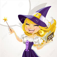 cute young witch with magic wand and book royalty free cliparts