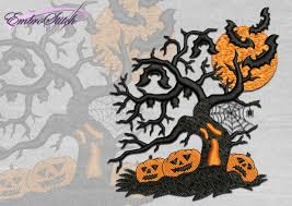 orange halloween tree halloween tree 3 sizes u0026 8 formats embrostitch