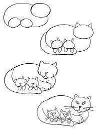 imágenes de gatos fáciles para dibujar gata con bebes cats pinterest gato bebe y dibujo