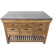 marble top crate kitchen island natural wood stain