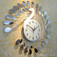 silent wall clocks fashion peacock design silent wall clock creative craft clocks for