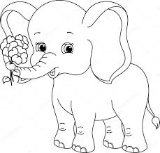 elephant holding a flower coloring page teachers printable