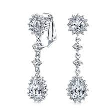 white gold chandelier earrings rhodium plated color cz bridal chandelier clip on earrings