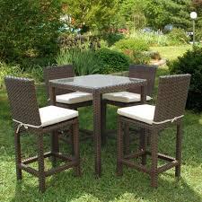 White Plastic Wicker Patio Furniture Resin Wicker Outdoor 5 Piece Dining Set Patio Decoration