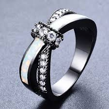 best women rings images Adeser jewelry new women white opal black gold ring 10 kt best jpg
