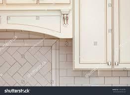 vintage kitchen wall cabinet white white wall cabinets subway tile backsplash stock photo edit