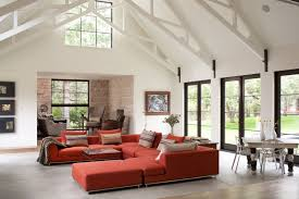 architecture red maroon sofa in the living room with white interior