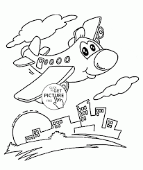 funny plane over city coloring page for preschoolers