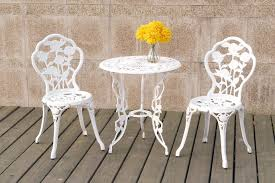 Aluminum Bistro Table And Chairs Country Living Cast Iron Aluminum Bistro Set White
