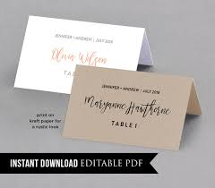 printable name place cards wedding place card template table number name card seating card