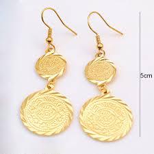 saudi arabia gold earrings 18k yellow gold plated muslim islamic earrings islam ancient