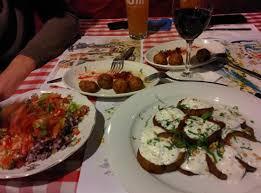 cuisine 4 arabe salad 2 falafel starters with 4 balls eggplant yoghurt dish
