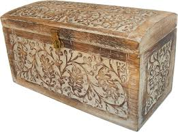 engraved weathered finish wooden chest eastern collection