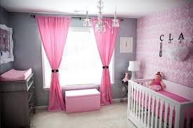Pink Nursery Curtains Baby Nursery Themes With Bench And Drawers And Pink Curtains