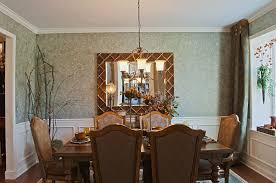 Wainscoting In Dining Room Traditional Dining Room With Interior Wallpaper U0026 Hardwood Floors