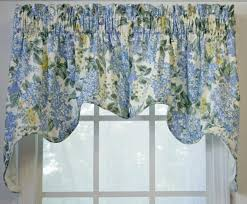 Blue Swag Valance Hydrangea Floral Print Lined Empress Swags Valance Window Curtain