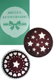 Round Cake Decorating Stencils Stars Hearts and Joyeux Anniversaire