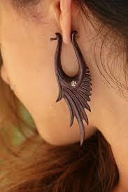 unique earrings wooden tribal earrings pixie wings