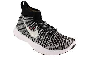 nike men free train force flyknit training shoes track black white