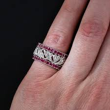 art deco ruby and diamond wedding band size 5 1 4