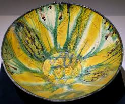 Color Painting by File Bowl With Incised Flower Design Iran 9th 10th Century Ad