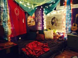 bedroom cool multicolor hipster bedroom with lights and wood