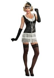 Halloween 1920s Costumes Black White Sequin Flapper Costume