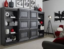 Urban Crossings Computer Armoire by Park Avenue Satin Charcoal Sliding Door Entertainment Wall Unit
