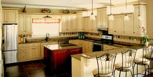 glazed wooden kitchen island with golden contour ornaments