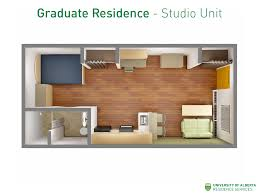 an example of a studio unit layout in graduate residence