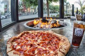 Firepit Pizza Pepperoni Pizza By The Outdoor Patio Firepit Yelp