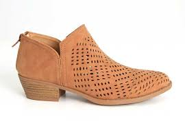 s qupid boots qupid shoes sochi perforated ankle booties in camel sochi 144 camel