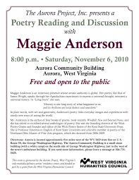 poetry reading and discussion with maggie anderson u2013 the aurora
