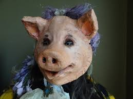 animal mask pig mask pig costume paper mache mask