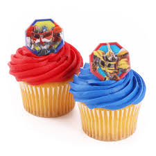 transformers cake toppers bakery crafts 24 cupcake topper rings transformers