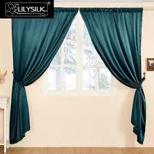 Teal Living Room Curtains Lilysilk Silk Curtain 19 Momme New Classical Living Room Curtain