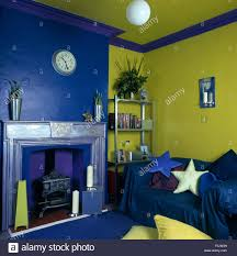 Bright Green Sofa Star Shaped Cushions And Blue Throw On Sofa In Lime Green And