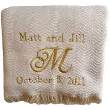 personalized wedding blanket custom embroidered and personalized cotton herringbone
