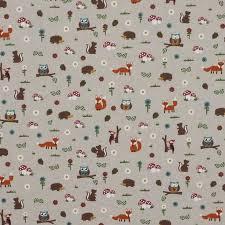 Curtain Upholstery Fabrics Linen Look Cotton Animals Childs Novelty Print Cushion Curtain
