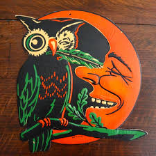 Folk Art Halloween Decorations Vintage 1930s Halloween Diecut Winking Owl Moon Beistle Usa