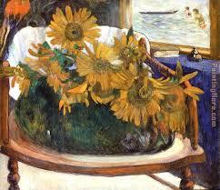 An Armchair Paul Gauguin Still Life With Sunflowers On An Armchair Painting