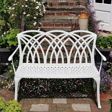 Steel Garden Bench White April Metal Garden Two Seater Bench Lazy Susan