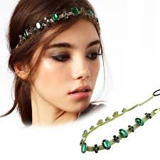 headbands for women new fashion hair jewelry green glass gold chain headbands