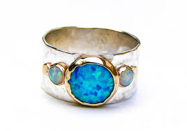opal rings unique images Unique engagement ring opal ring gold and silver hammered jpg