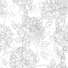 hand drawn floral wallpaper with set of different flowers u2014 stock