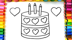 how to draw a birthday cake coloring page youtube