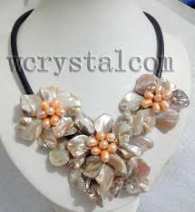 leather flower necklace images Charming real cultured freshwater pearl white shell flower jpg
