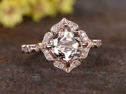 gold and morganite ring 2 to 2 5 carat cushion cut morganite ring 14k gold diamond